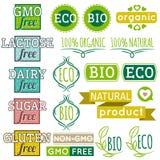 Satz natürliche Bioproduktaufkleber und -embleme Lizenzfreie Stockfotografie