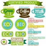 Satz natürliche Bioproduktaufkleber und -embleme Lizenzfreies Stockbild