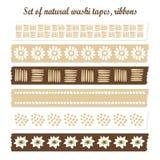 Satz natürliche washi Bänder, Bänder, Elemente, nette Designmuster Stockbilder