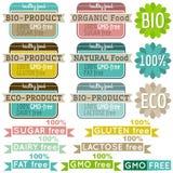 Satz natürliche Bioproduktaufkleber und -embleme Stockfotografie