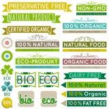Satz natürliche Bioproduktaufkleber und -embleme Lizenzfreies Stockfoto
