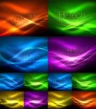 Satz Neonwellenhintergründe mit Lichteffekten, curvy Linien mit den funkelnden und glänzenden Punkten, glühende Farben in der Dun vektor abbildung