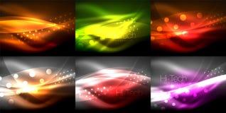 Satz Neonwellenhintergründe mit Lichteffekten, curvy Linien mit den funkelnden und glänzenden Punkten, glühende Farben in der Dun stock abbildung
