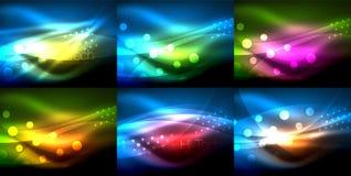 Satz Neonwellenhintergründe mit Lichteffekten, curvy Linien mit den funkelnden und glänzenden Punkten, glühende Farben in der Dun lizenzfreie abbildung