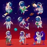 Satz nette Astronauten im Raum Lizenzfreie Stockfotos