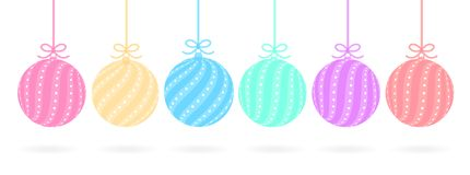 Satz nette Bälle in den Pastellfarben rot, gelb, rosa, blau, grün, purpurrot stock abbildung