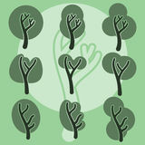 Satz nette Gekritzelbäume, ursprünglicher Karikaturbaum kritzelt, Vektor Lizenzfreie Stockfotos