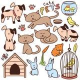 Satz nette Hand gezeichnete Haustiere Stockbilder