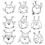 Satz nette Karikatureulen mit verschiedenen Gefühlen Stockfoto