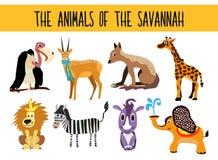 Satz nette Karikaturtier- und -vogelbereiche der Wiese lokalisiert auf weißem Hintergrund Elefant, Giraffe, Nashorn, Schakal, Gei Stockfotografie