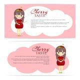 Satz nette kawaii Mädchen im Kirschkleid mit Dekoration im Haar lokalisiert auf weißem Hintergrund Lizenzfreies Stockfoto