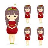 Satz nette kawaii Mädchen im Kirschkleid mit Dekoration im Haar lokalisiert auf weißem Hintergrund Stockfotos