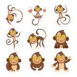 Satz nette lustige Affen Stockbilder