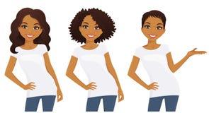 Satz nette Mädchen in den weißen T-Shirts Stockfotos