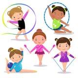 Satz nette Mädchen der rhythmischen Gymnastik lizenzfreie abbildung