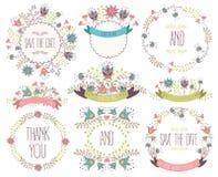 Satz nette Retro- Blumen vereinbarte UNO eine Form des Kranzes, der für Heiratseinladungen und Glückwunschkarten perfekt ist Heir Lizenzfreies Stockbild