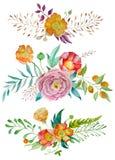 Satz nette Retro- Blumen vereinbarte UNO eine Form des Kranzes, der für Heiratseinladungen und Glückwunschkarten perfekt ist lizenzfreie abbildung