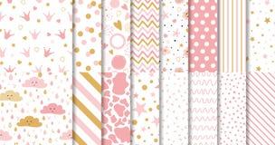 Satz nette süße rosa nahtlose Muster tapezieren für wenig rosa Hintergrundsammlung des Babys stock abbildung