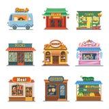 Satz nette Schaukastenshops Pizza, Bäckerei, Süßigkeit Stockbilder