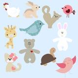 Satz nette Tiere in der Karikaturart auf blauem Hintergrund collect stock abbildung