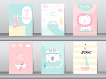 Satz nette Tiere Plakat, Schablone, Karten, Kaninchen, Bär, Zoo, kawaii, Vektorillustrationen lizenzfreie abbildung