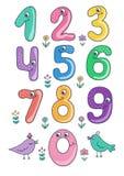 Satz nette und lustige bunte lächelnde Zahlcharaktere von 0 bis 9 Lizenzfreie Stockfotografie