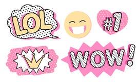 Satz nette Vektoraufkleber Sprudeln Sie für Text, Prinzessinkrone, wow-, LOL-Ikonen und lachendes emoji lizenzfreie abbildung