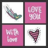 Satz nette Vektorkarten für St.-Valentinsgruß-Tag mit Illustrationen und Beschriftungsmitteilungen Stockbilder