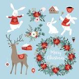 Satz nette Weihnachtscliparte mit Häschen, Ren, Winterblumen, Weihnachtskranz und Bällen Skandinavischer Entwurf Lizenzfreies Stockfoto