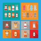Satz nettes Weihnachts- und des neuen Jahrescharaktere Lizenzfreie Stockfotos