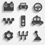 Satz Netz mit 9 Autos und bewegliche Ikonen Vektor Stockbilder