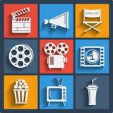 Satz Netz mit 9 Kinos und bewegliche Ikonen. Vektor. Stockfotografie