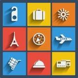 Satz Netz mit 9 Reisen und bewegliche Ikonen. Vektor. Lizenzfreie Stockfotografie