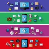 Satz Netz- und Geschäftskonzepte Flaches Design Lizenzfreies Stockfoto