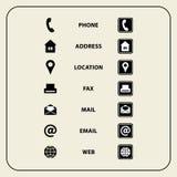 Satz Netzikonen für Visitenkarten, Finanzierung und Kommunikation Lizenzfreie Stockbilder