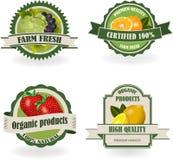 Satz neue organische Frucht-Aufkleber Lizenzfreie Stockfotografie