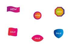 Satz neuen und Verkaufsaufkleber für Produkte Lizenzfreie Stockfotos
