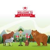 Satz neun Vektorskizzen Kanada-Ikone Karikaturdesign Colorfull-illustrat Stockbild
