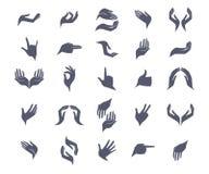 Satz offene leere flache Handikonen mit unterschiedlichem Lizenzfreie Stockfotografie