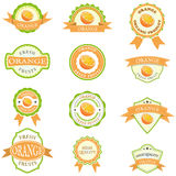 Satz orange Aufkleber Lizenzfreie Stockfotos