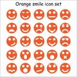 Satz orange Emoticons Lizenzfreies Stockfoto