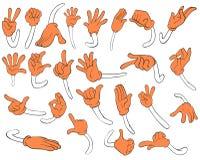 Satz orange Hände Stockfotografie
