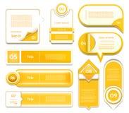 Satz orange Vektorfortschritt, Version, Schrittikonen Stockfotos