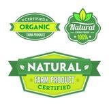 Satz organisch-Bioaufkleber Lizenzfreie Stockfotos
