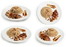 Satz orientalischer Reis und Fleisch lokalisiert auf weißem Hintergrund, Beschneidungspfad eingeschlossen Lizenzfreie Stockbilder