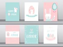 Satz Ostern-Grußkarten, Schablone, Kaninchen, Eier, Vektorillustrationen Lizenzfreie Stockfotos