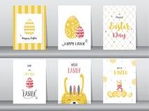Satz Ostern-Grußkarten, Schablone, Kaninchen, Eier, Vektorillustrationen Stockbild