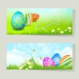 Satz Ostern-Karten mit verzierten Eiern Stockfoto