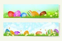 Satz Ostern-Karten mit verzierten Eiern Stockbild