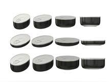 Satz ovale Blechdosen des schwarzen Rundbodens in den verschiedenen Größen, clippi Stockbild